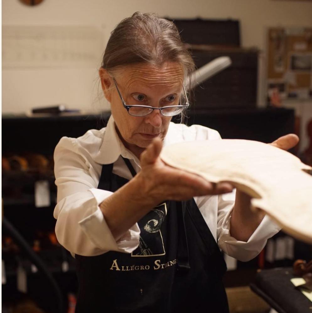 Dorothy Smith,Luthier - Dorothy Smith, owner and luthier at Allegro Strings, has had the pleasure of studying with many renowned European-trained luthiers. This training is fundamental to her approach in the making and restoration of fine stringed instruments and their bows. In March of 1991, she opened Allegro Strings to use her training and follow her passion.In January of 1980, Dorothy started her apprenticeship with renowned restoration specialist Anton Smith.Moving to Seattle in the fall of 1980 allowed her to make acquaintances with both musicians and makers in the area. Dorothy worked with the late David Saunders and trained under shop foreman, Ernst Luthie. At the close of her tenure with David, Dorothy was employed with Hammond Ashley, the largest violin family workshop on the west coast.In the fall of 1984, she continued her studies in Cremona, Italy.Dorothy eventually settled in Bellingham, Washington in the winter of 1988, where Ray Bastien was creating instruments. She developed Ray's repair shop and helped him hand craft 25 stringed instruments in the one and a half years she worked with him. Dorothy has been artfully restoring and creating fine musical instruments ever since, at her shop Allegro Strings.