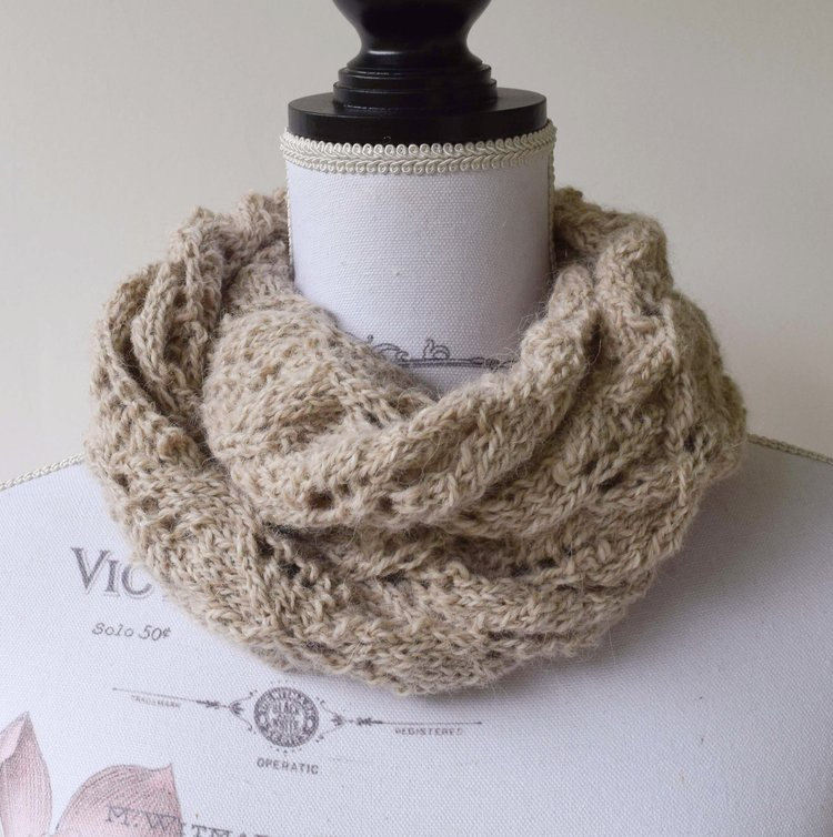 Hand Knitted Alpaca Infinity Scarf Toasted Almond Diamond Pattern