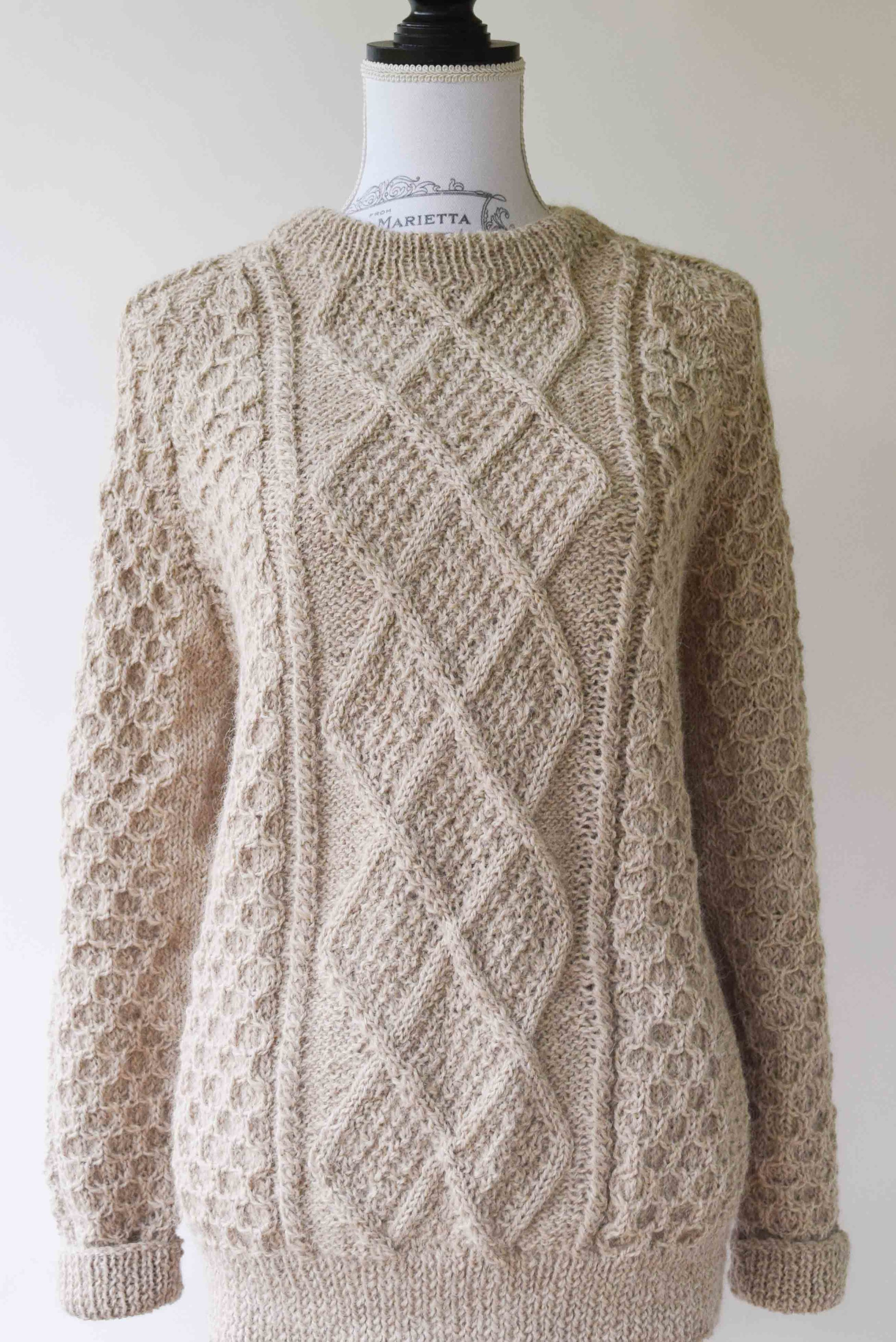 b55a313f6d33 HAND KNITTED ALPACA SWEATER - Toasted Almond Cable Pullover ...