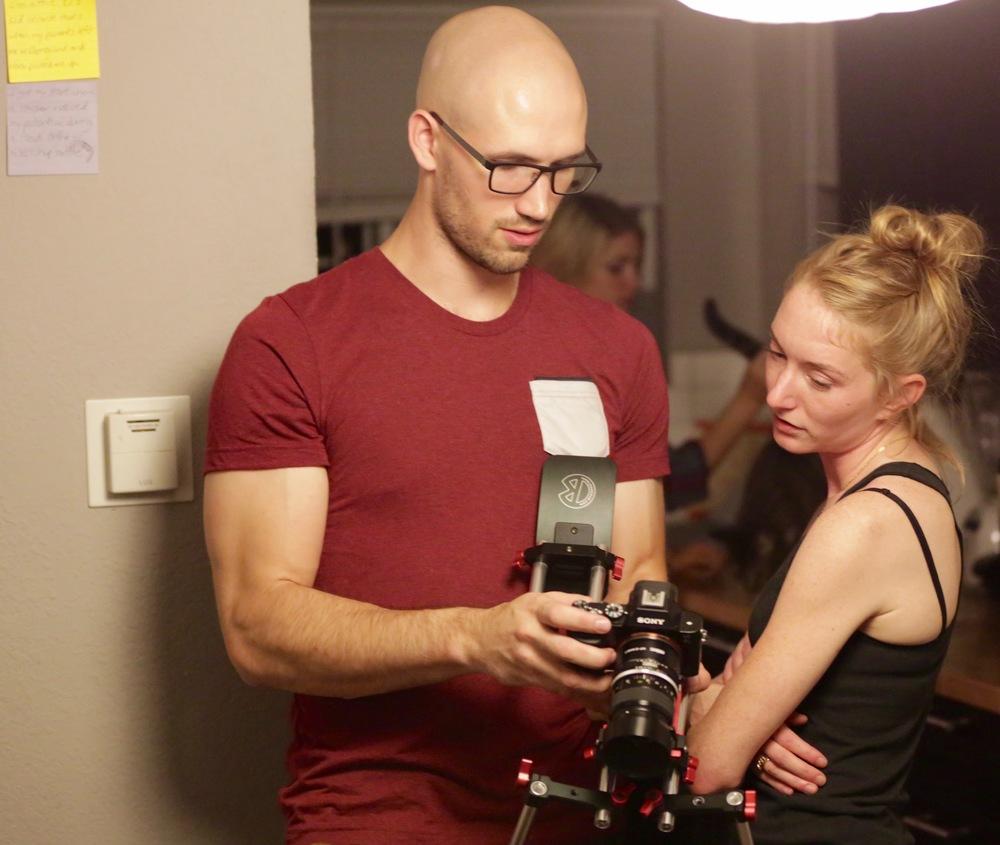 Luke Knezevic (DP) with Charlotte Gleason (Director)