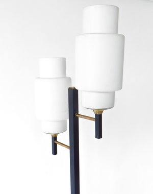 French Floor Lamp by Maison Lunel With Two Opaline Shades — pavilion ...