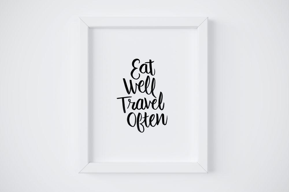 8x10 Eat Well Travel Often $18