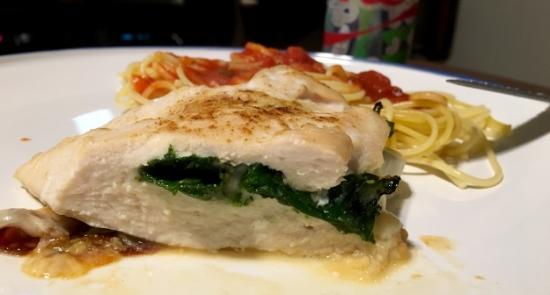 Provolone & Spinach Stuffed Chicken with Pasta with Tomato Sauce