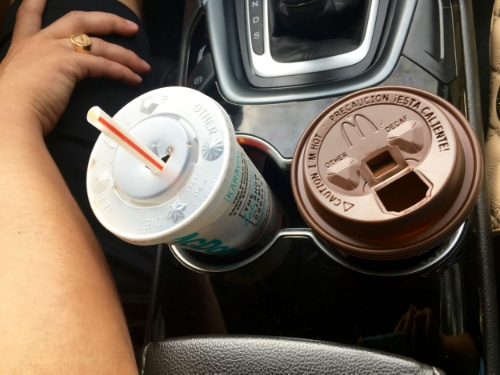 A road trip wouldn't be complete without diet coke and coffee!