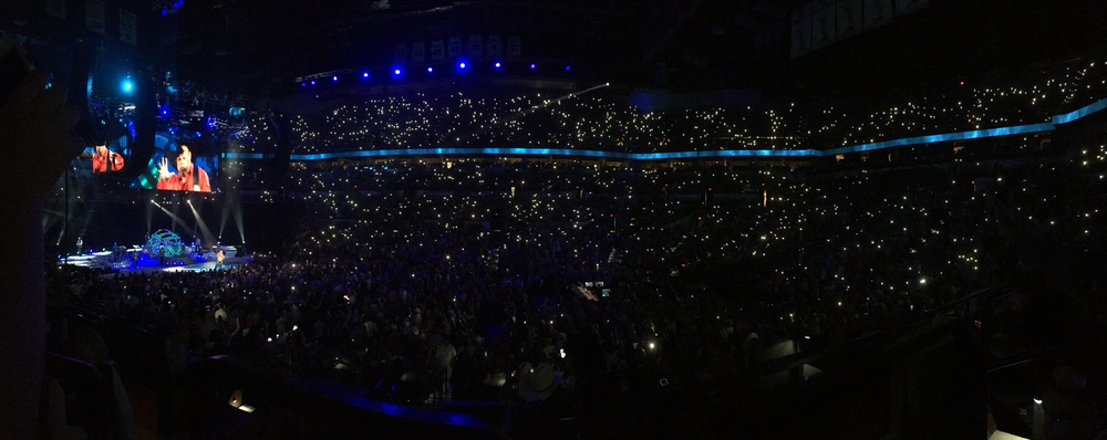 "Performing ""The River"". What a great song. Get's me every time.  Yes, Gina and I pulled our our cell phones and participated in ""lighting it up""."