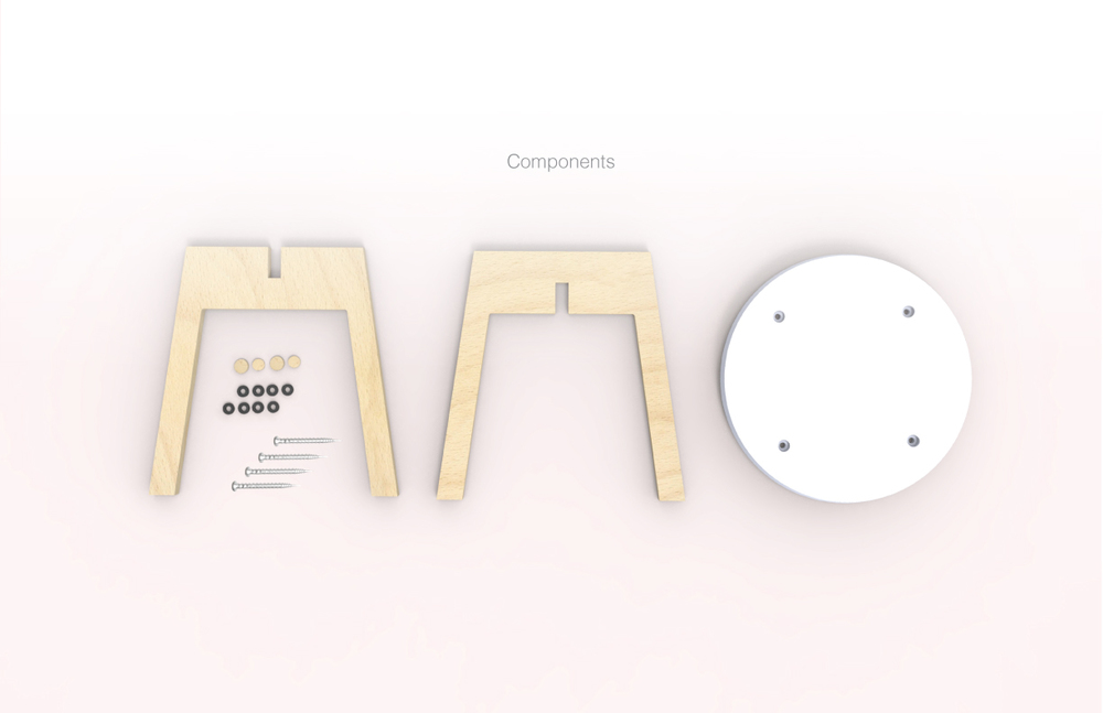 "Components: 1/2"" Molded Corian and 5/8"" CNC Birch Plywood Panel"
