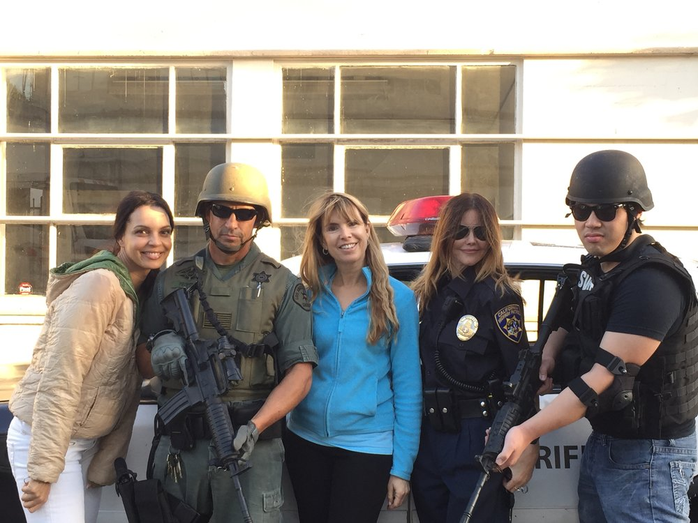 Director Julia Verdin and actress Siena Goines (Ms. Sanchez) with the rescue team.JPG