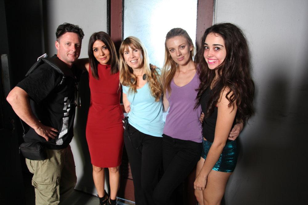 DP Peter Holland, Marisol Nichols (Romina), director Julia Verdin, Bar Paly (Kara), Cristina Cibrian (Marisol).JPG