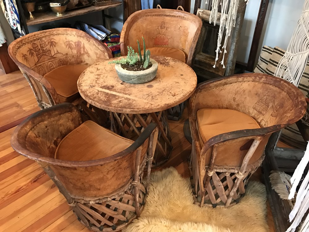 Vintage Folk Leather Table & Chairs