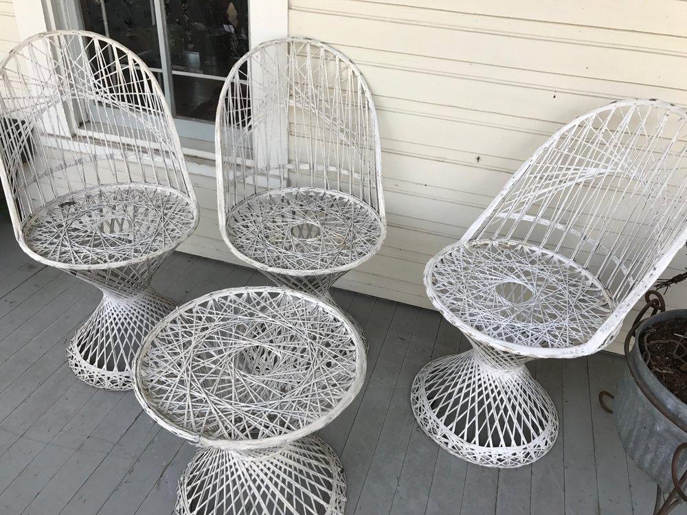 Trio Fiberglass Chairs & Table