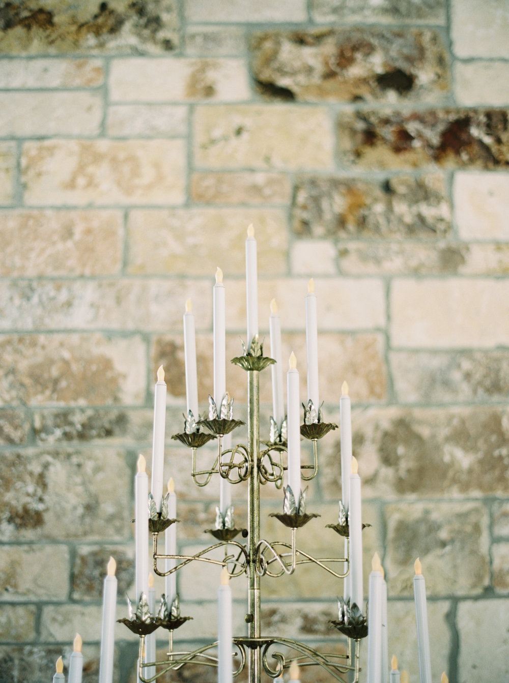 Our vintage Brass Candelabras, alongside the altar...