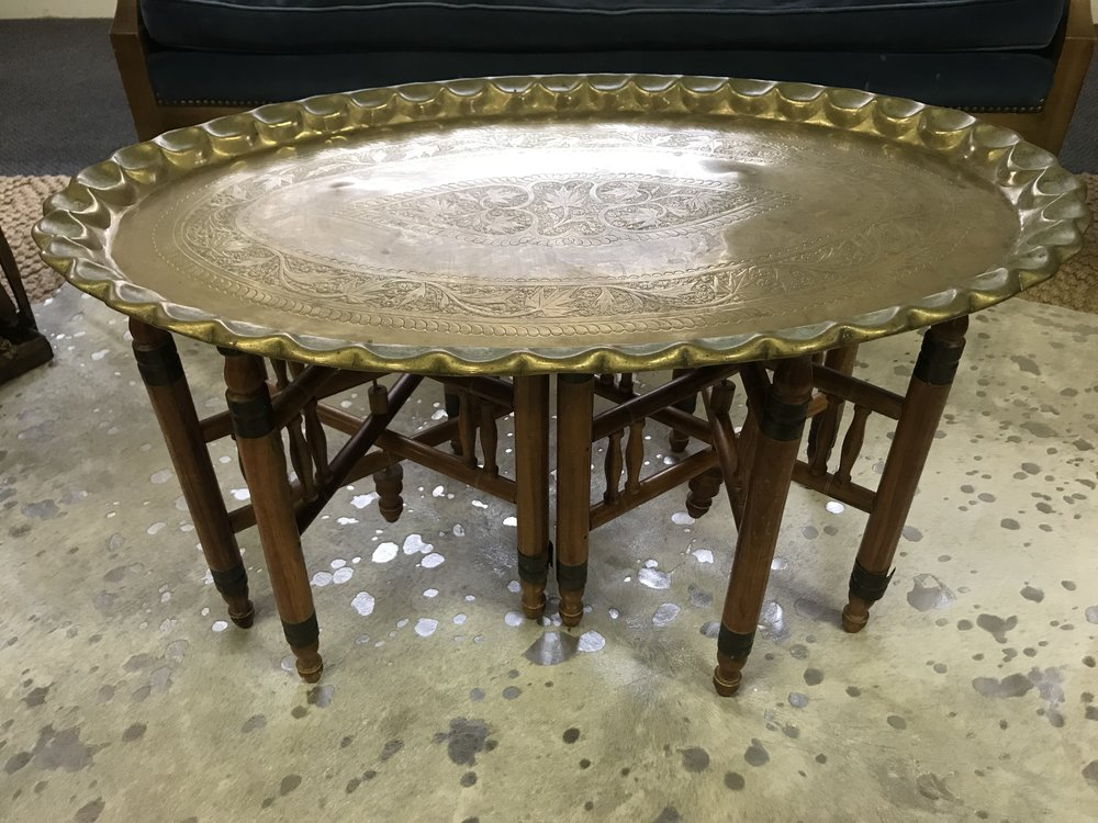 Brass oval mini coffee table
