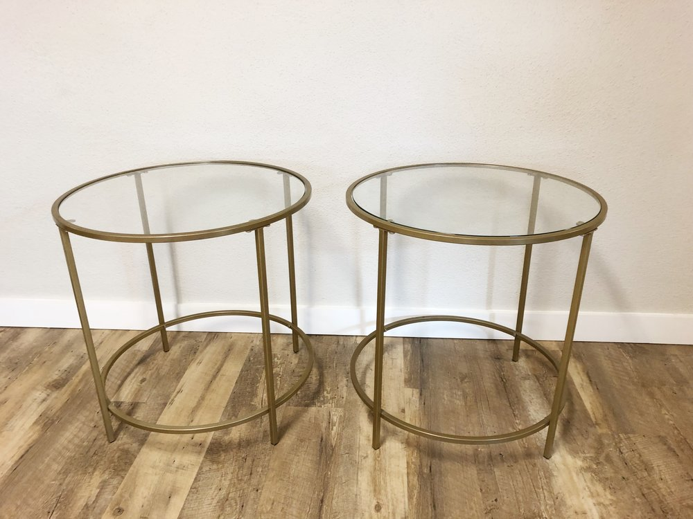 Gold Glass Side tables