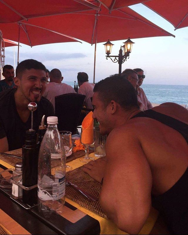 Shoutout to the best caption for these two meatheads 😂😂What they laughin about?? - Happy Birthday @ramy_benn !! - #bodybuilding #motivation #funny #meme #aesthetics #fitness #zyzz #inspiration #triceps #beach #france #travel #fitfam #yagerfitness #abs #muscle #fitnessmotivation #model #algerian #caption #contest
