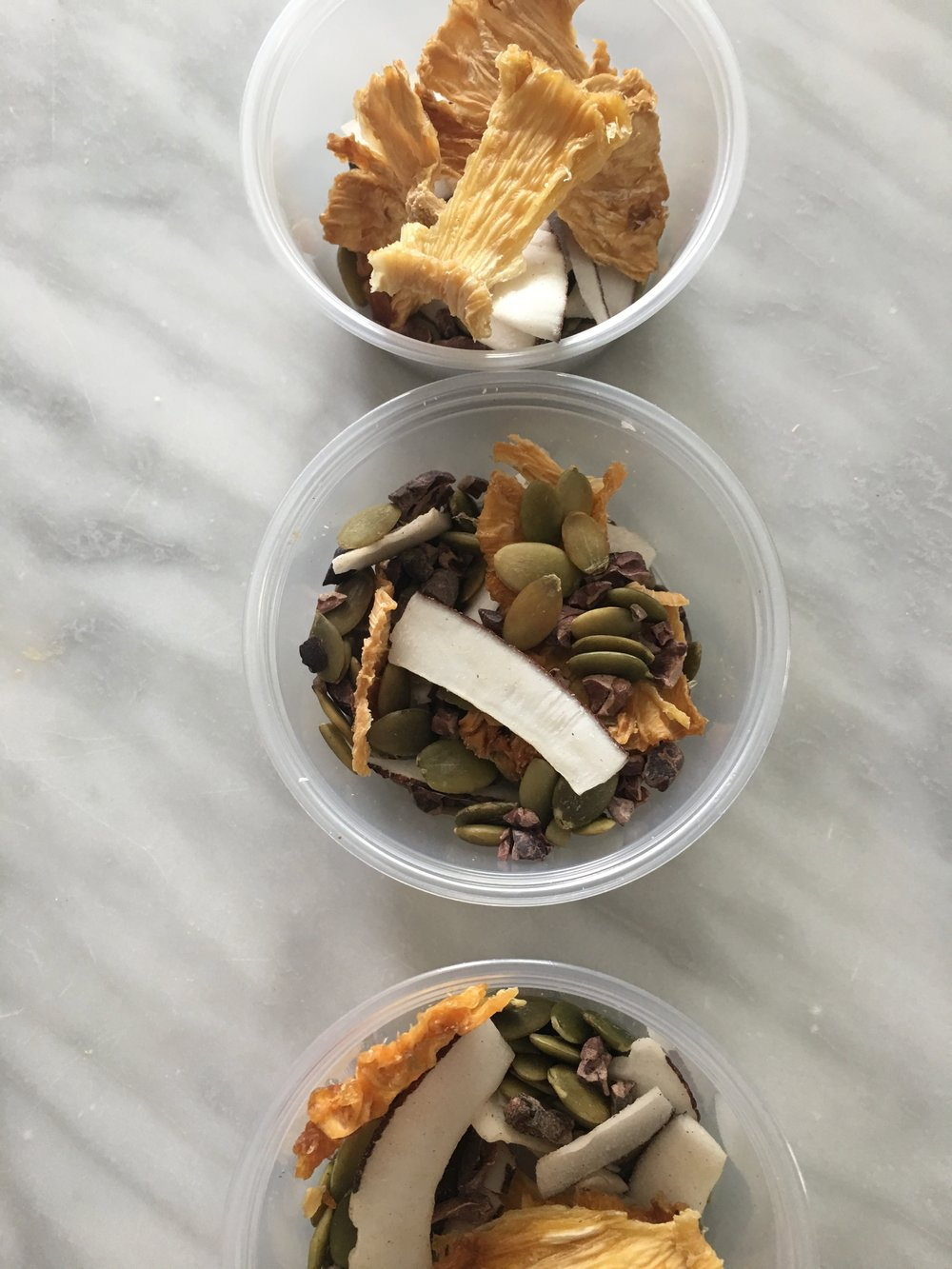 Snacks: Dried Fruit, cacao nibs, coconut chips