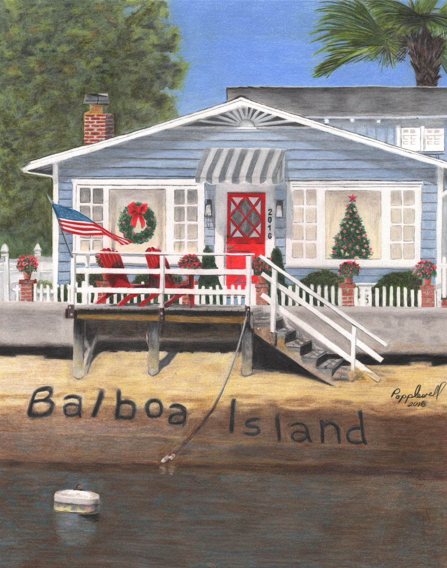 Each year a local artist is asked to paint a picture of a home that represents Balboa Island and the holidays. This year Tom Popplewell, an artist who lives on Balboa Island, painted our picture using colored pencils. That original painting will be raffled off at the Balboa Island Museum on the day of the Tour.