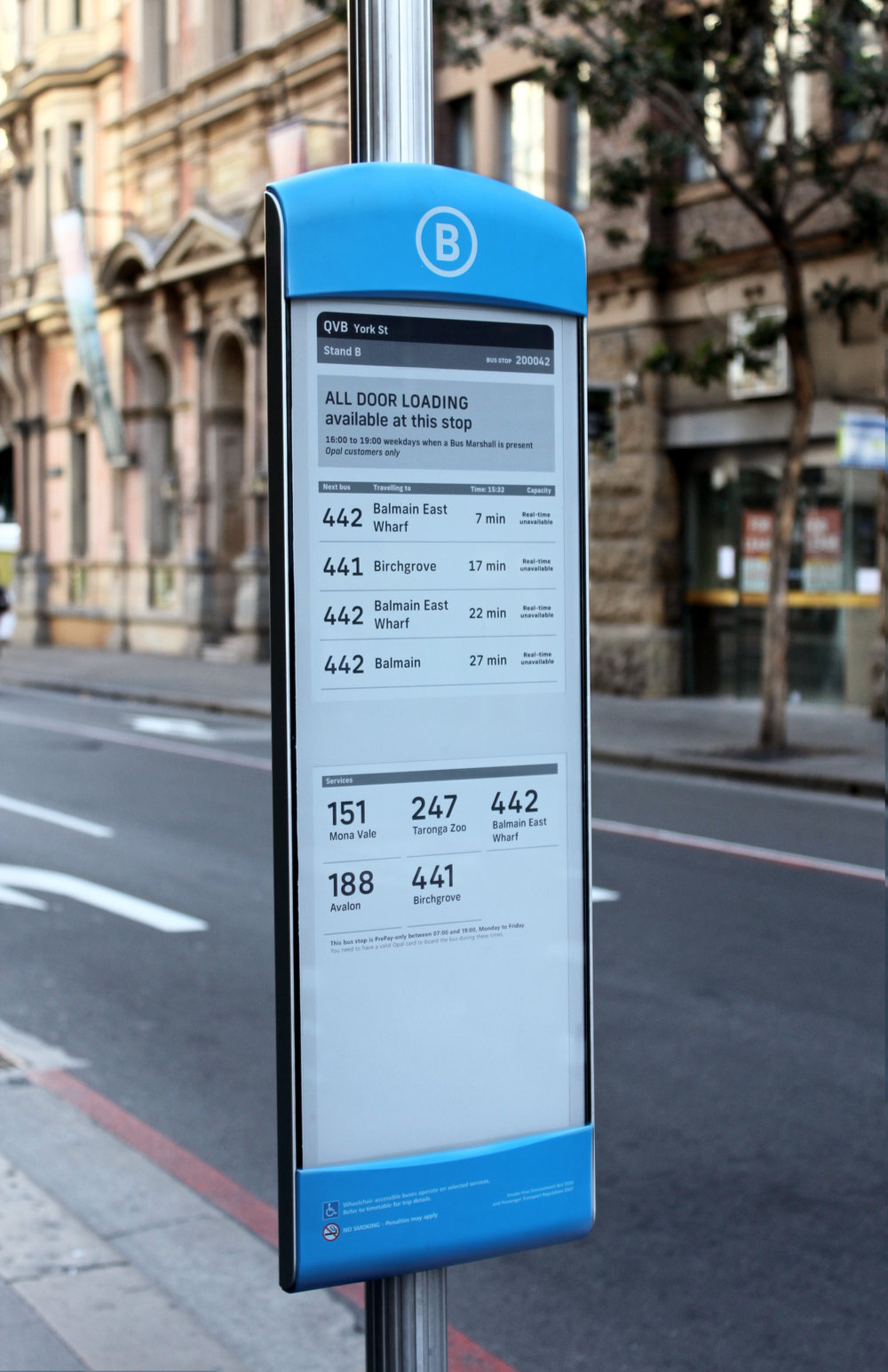 S Y D N E Y . - New digital bus stops have been installed around Sydney's Town Hall, replacing traditional bus stop paper timetables. Dubbed 'eStops' and developed on electronic paper, the displays have been developed with the commuter in mind, making access to travelling information and emergency notifications easier than ever before.Nowhere is this more crucial than in Sydney—one of the busiest cities in the world, the metropolis is host to a variety of 'special city events', where streets are closed and normal city flows disturbed. Now providing this event information in real time is possible with the eStop!