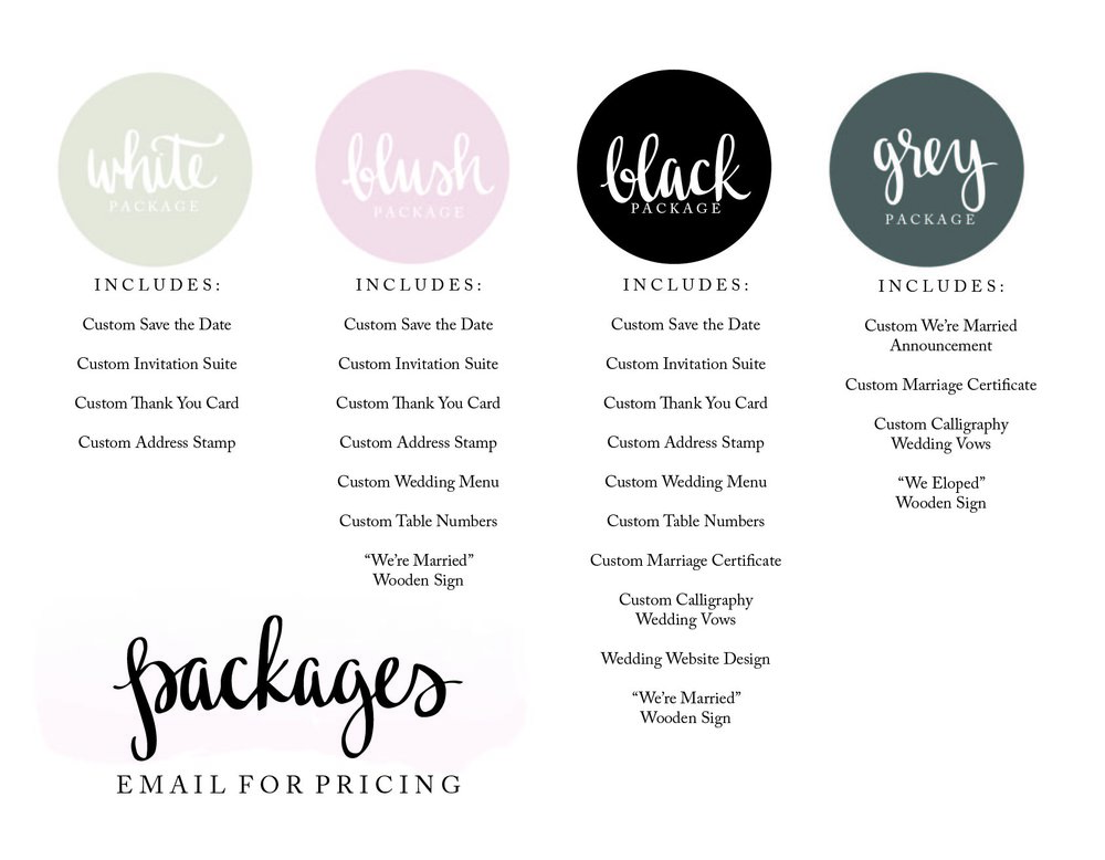 Calligraphy Wedding Packages