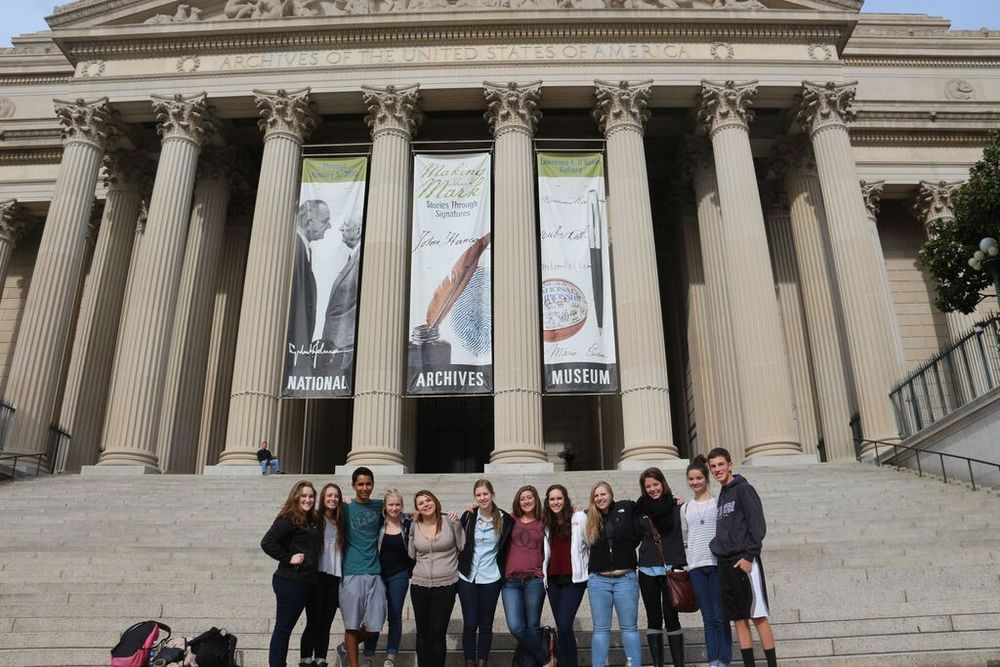 Our group captured another photo directly outside the National Archives Museum where we were able to see documents such as the First Amendment.