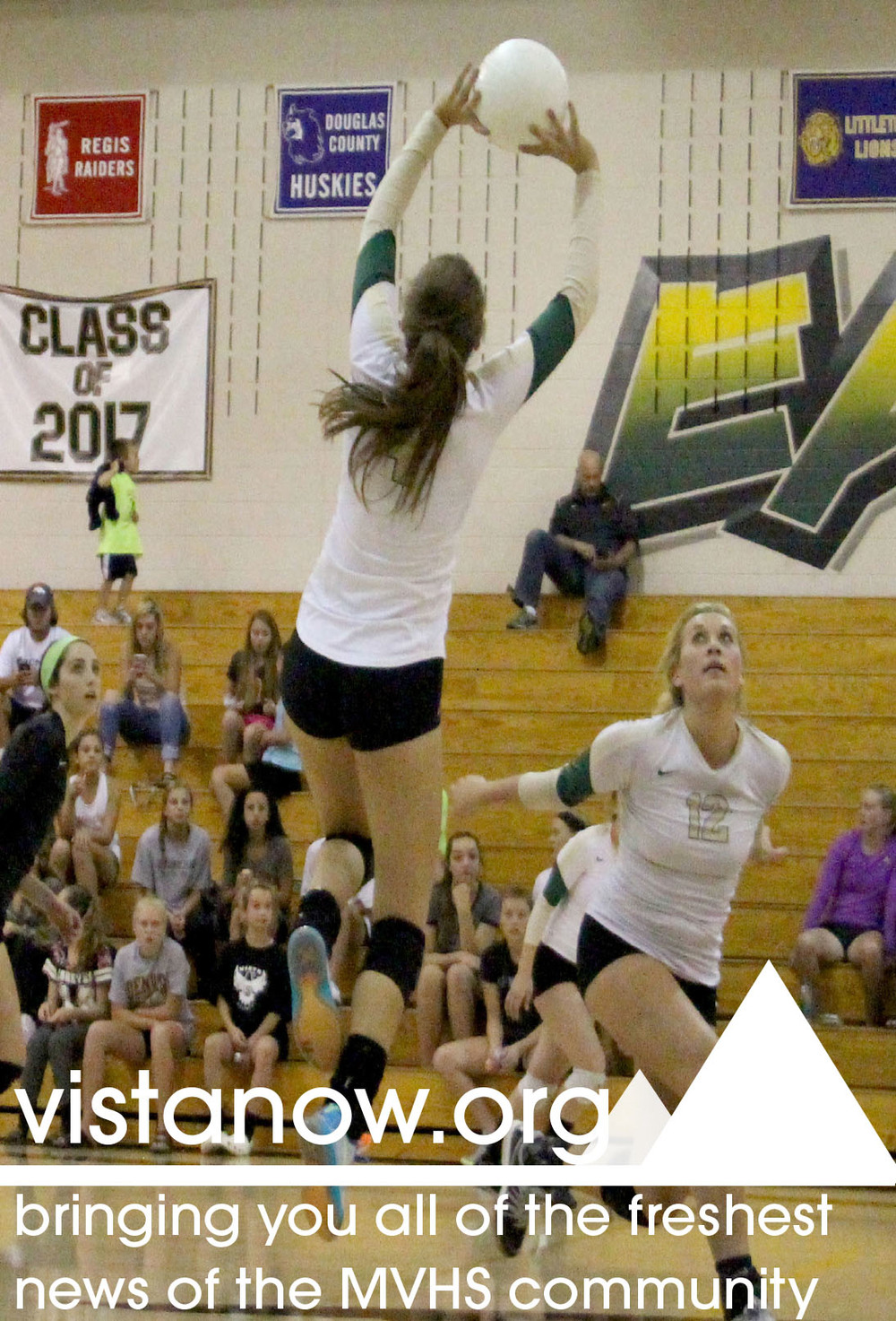 This advertisement used a photo from the women's volleyball gallery senior staffer Kenzie Winslow and I posted.