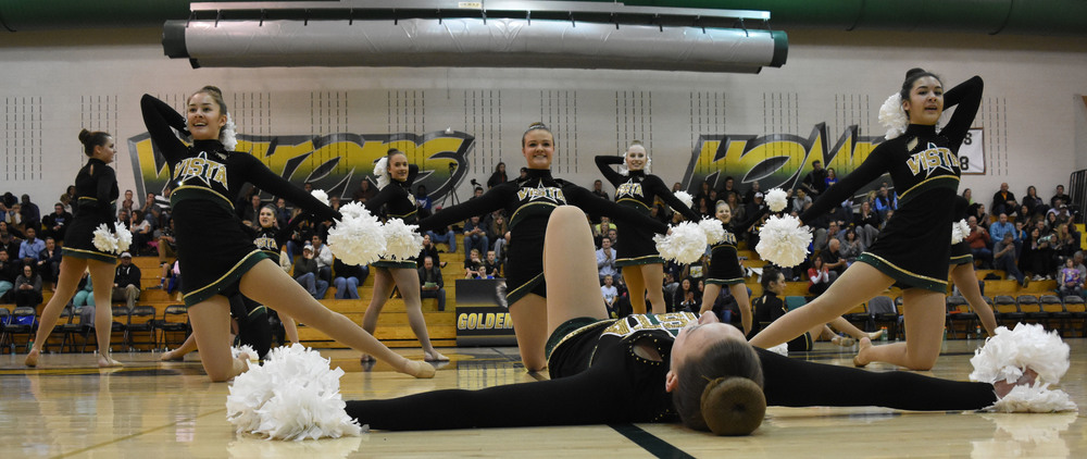 The Mountain Vista state champion varsity poms performs its traditional poms routine at the half.  Published February 2016, Vista Now