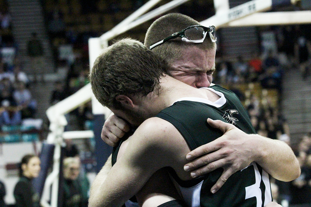 Senior captains Brady Subart and Ray Beresford embrace following their final game together as Golden Eagles. The duo now plays for Western State University.Published March 2015, Vista Now