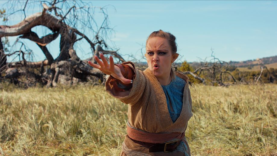 Skye (played by Marianne Haaland) uses Force Push in Star Wars: Rivals, a fan film produced by the Reclamation Society.