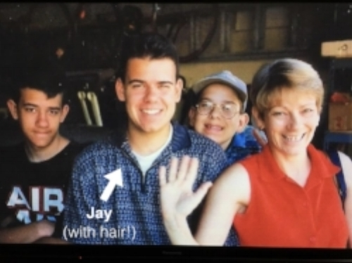 Jay, his brothers, and his mom. I miss you, Mom!