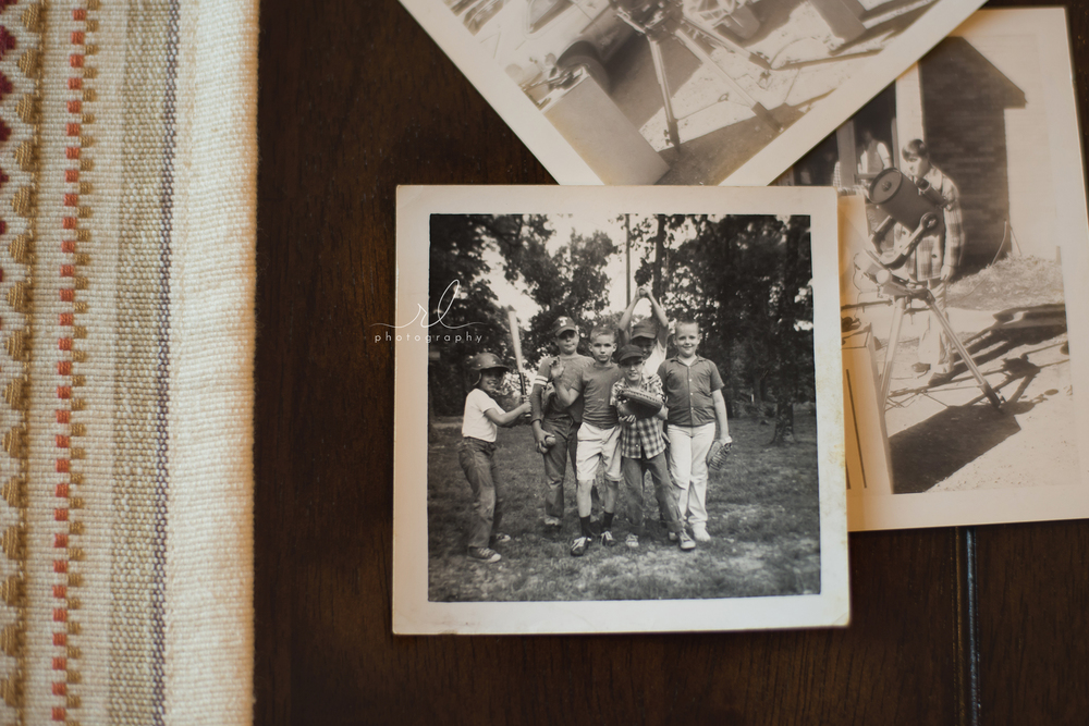 My dad (holding the baseball mitt) with his friends.