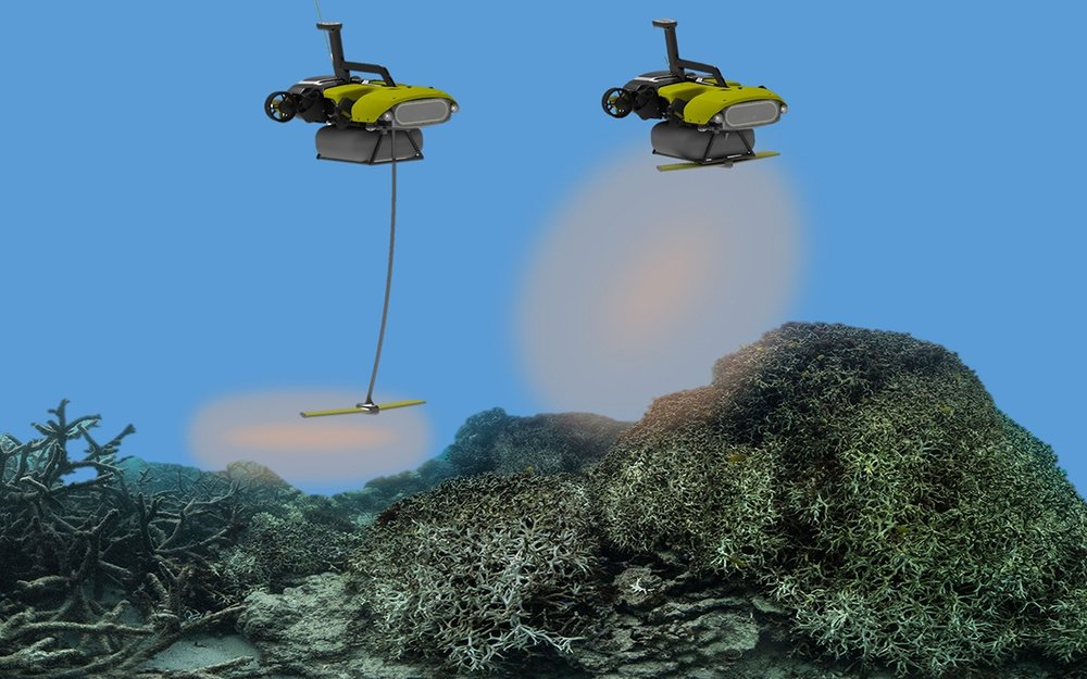 LarvalBot dispensing coral larvae onto damaged reefs. Credit: Matthew Dunaban via  Sierraclub.org
