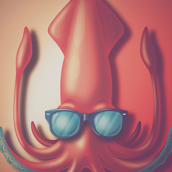 The Chill Squid. original artwork by Michael Fugoso at  Fugstrator .