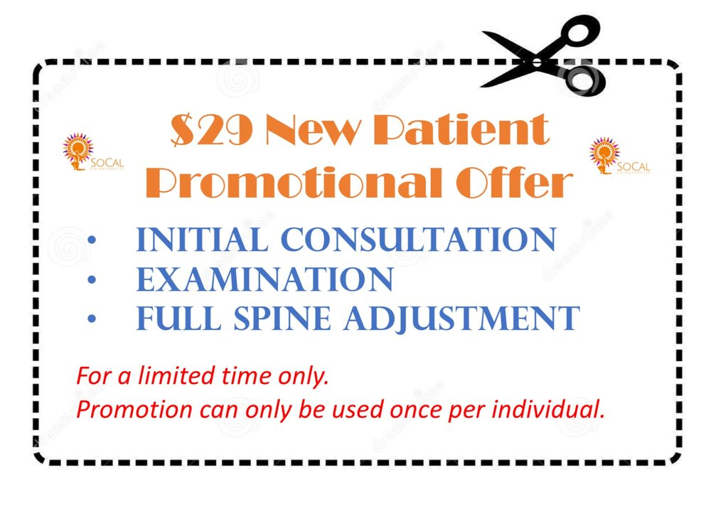 NEW PATIENT SPECIAL! - CLICK HEREFOR A PRINTABLE VERSION OF THE ABOVE COUPON. PLEASE PRESENT VOUCHER AT YOUR INITIAL APPOINTMENT.