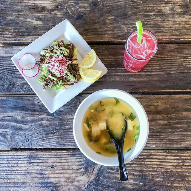 Hapi is evolving with the community! We now offer more plant-based options 🌱 and organic (vegan) miso soup!  We also absolutely love our locally made @bambuchakombucha 🌸  #mushroomquinoatacos #organic #veganfriendly #local #hapiness