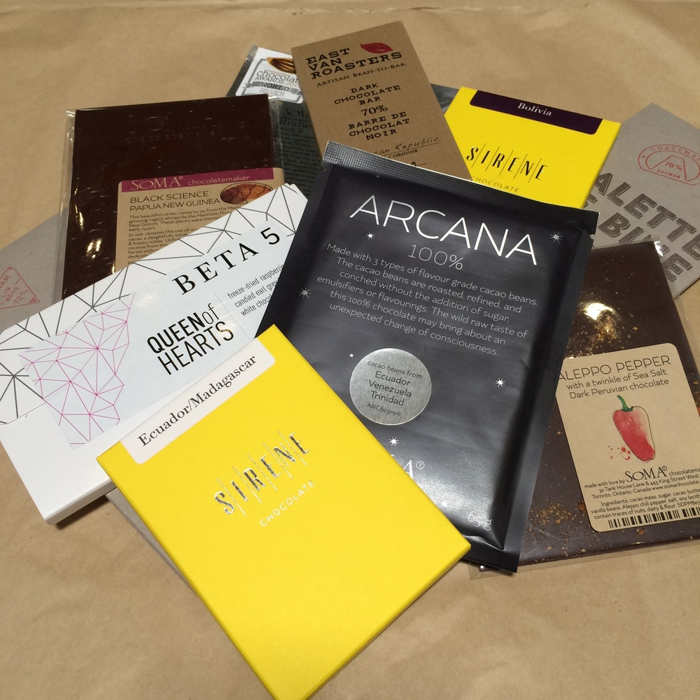 A selection of made in Canada bean-to-bar chocolate.