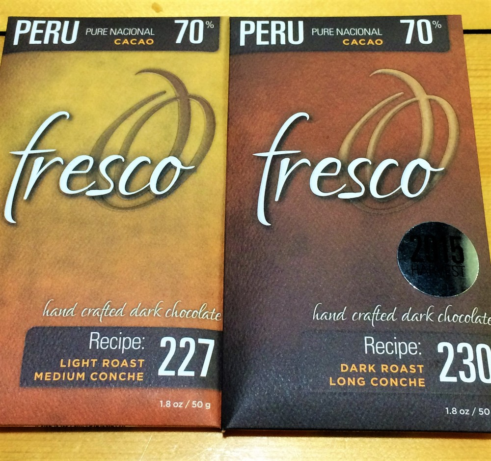 Fresco's Peru Pure National: light roast and medium conche time vs dark roast and long conche time.