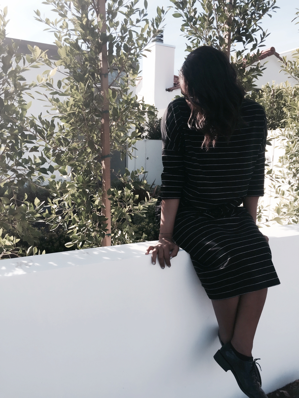 Zara striped dress black and white zara black oxford shoes