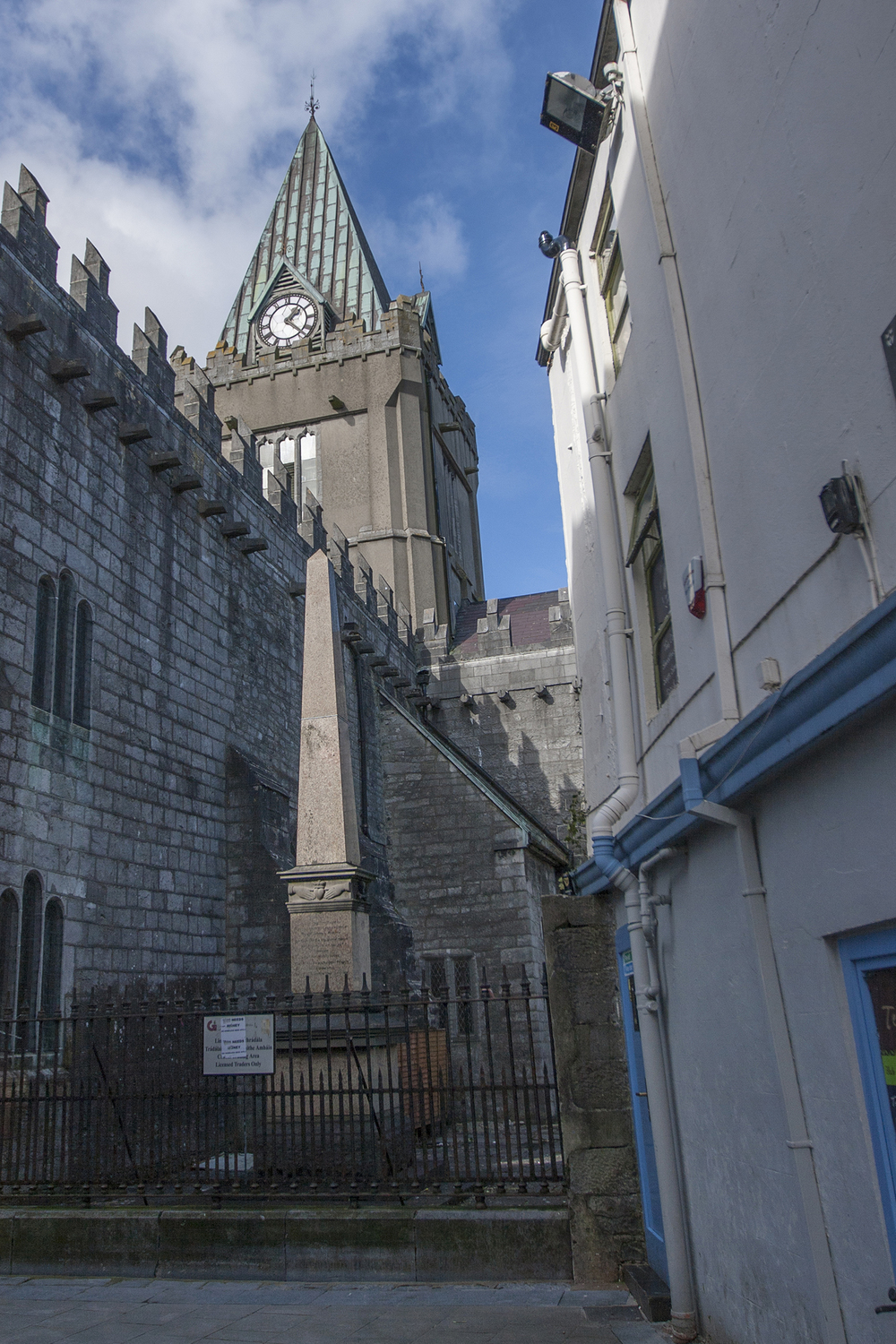 Shop Street view of St. Nicholas' Church, Galway