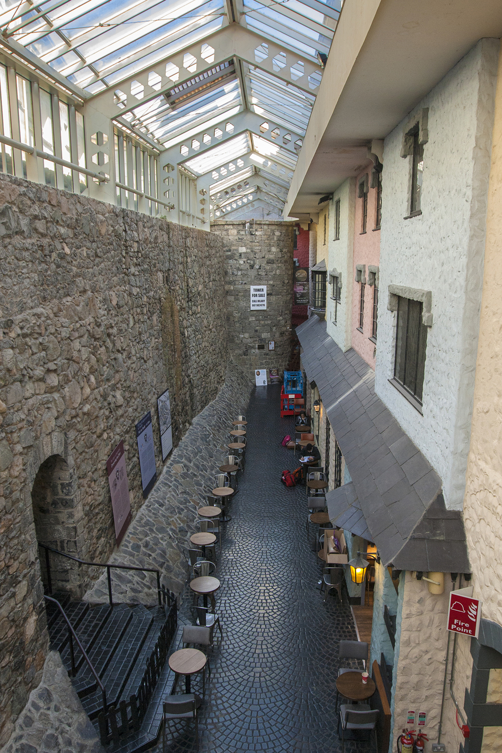 A Section of Galway's unusual town walls now sits within a shopping centre