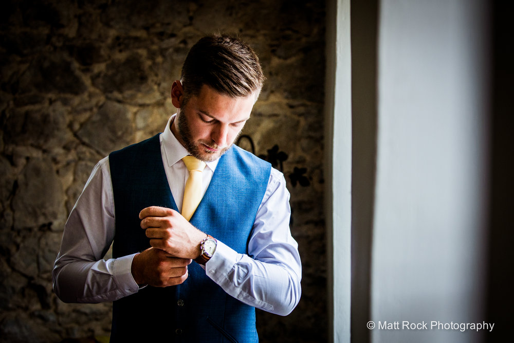 Groom portrait whilst getting ready