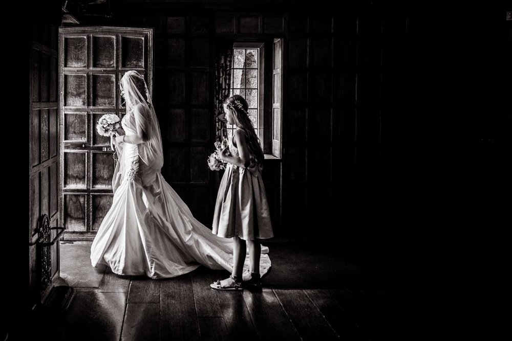 Bride walking to the Church at Lympne Castle