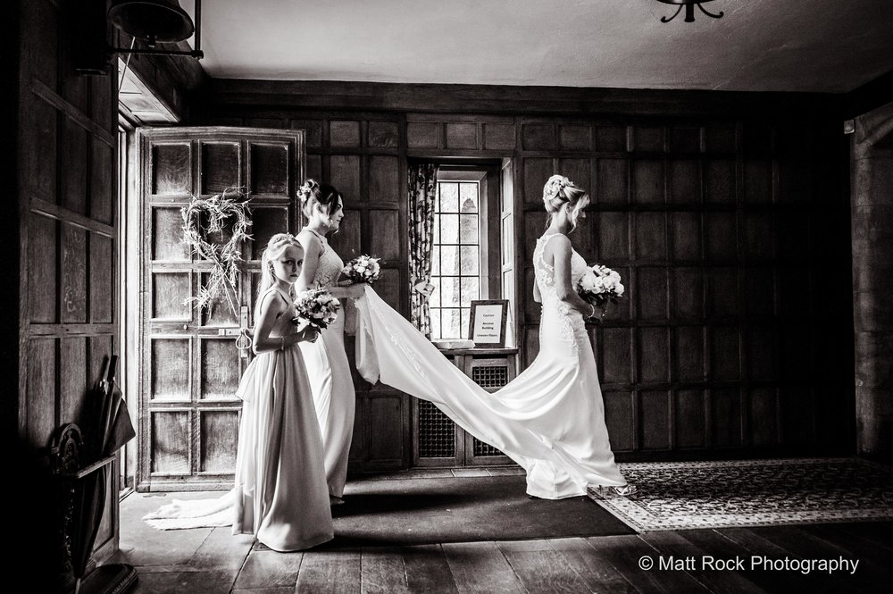 Bride walking to her ceremony at Lympne Castle