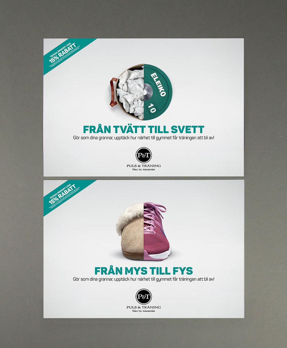 Två av de tre reklamlösningarna som tog fram