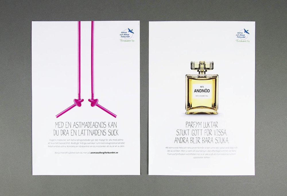 Vi har hittills gjort två kampanjer åt Astma- och Allergiförbundet, en för Världsastmadagen och en för Parfymfria veckan