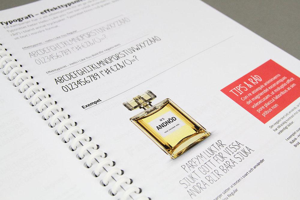 Den grafisk manual visar bland annat hur man kan jobba med typografin