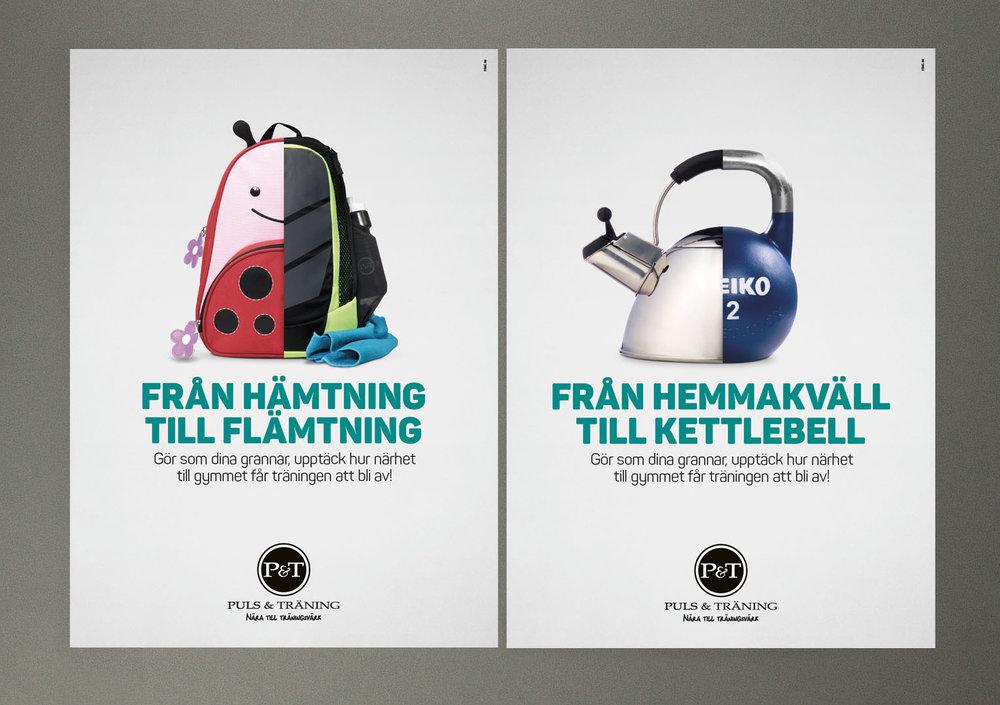 Två av de tre konceptbilderna för Puls & Tränings januarikampanj