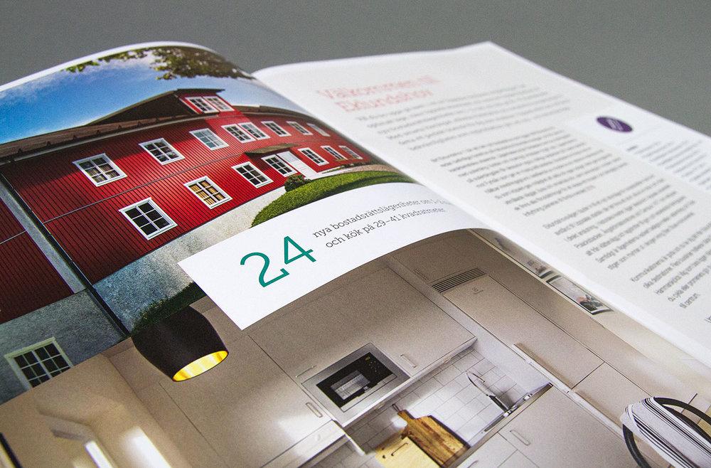 Uppslag från katalog för försäljning av nybyggda bostadsrätter