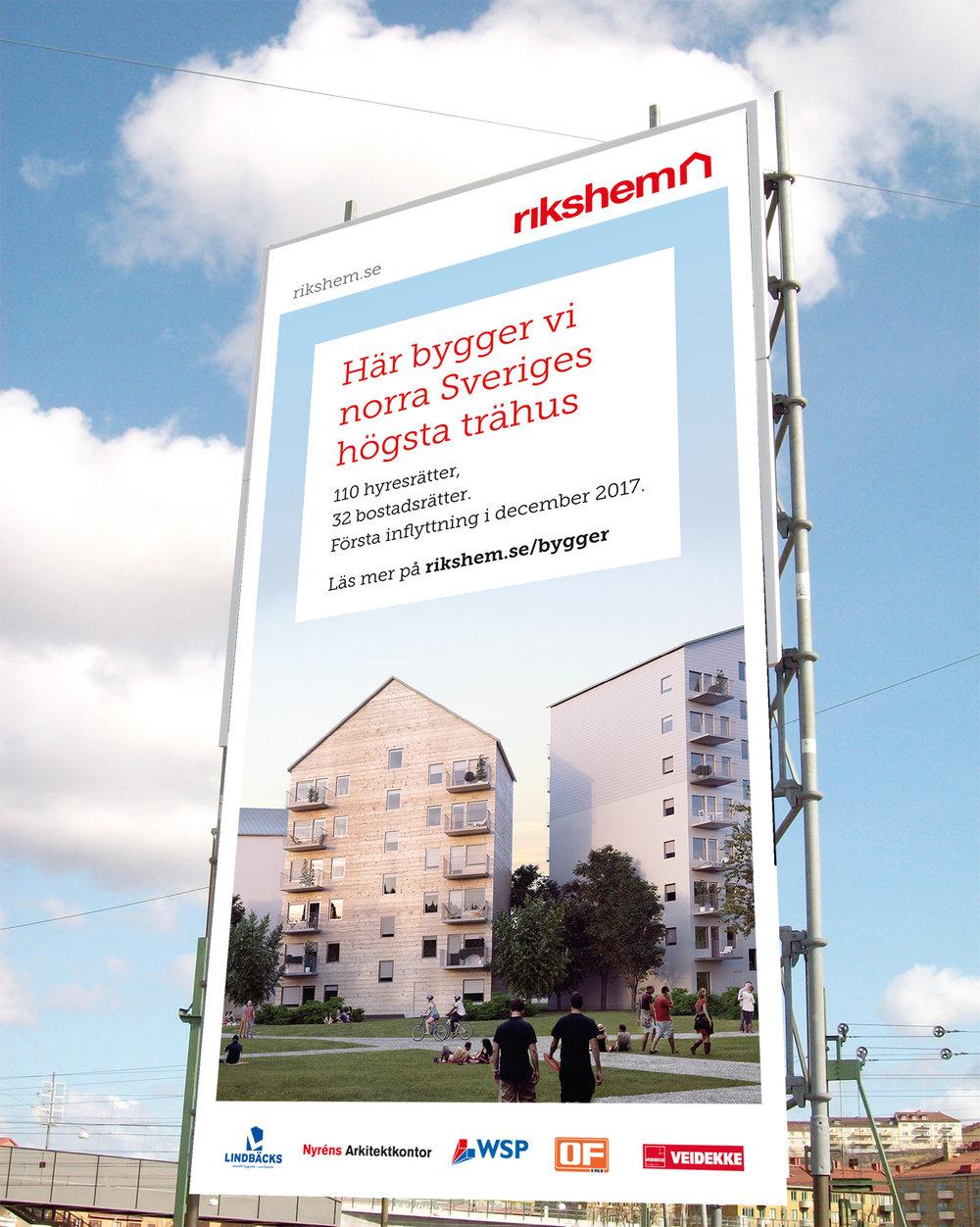Byggskylt för norra Sveriges högsta trähus!
