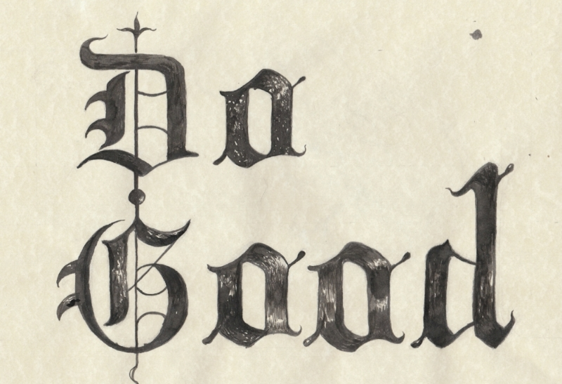 Here is an example of some practice calligraphy I came up with last week. I did use a guide reference in illustrating this font, specifically the Gothic style. I've always admired Ye Olde Medieval texts and illuminations, the artistry present in them and the symbolism. My affinity and appreciation of all things Medieval definitely came from my Mother who is quite the history buff. Just imagine those hundreds of years ago in Medieval Europe. . .monks and scribes having to HAND illustrate several hundred page plus tomes, and bibles for the monarchs and ruling bodies. Sometimes it could take between 6 months to a few years to illustrate a tome or illuminated manuscript.