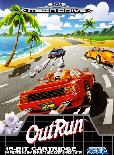 The Cover-art for 'Outrun' video game published by Sega in 1986. The developer behind the game was Yu Suzuki and Sega AM2. It was a commercial success when it was released, selling over 20,000 arcade cabinets with the game installed in it. The red sports car makes debut, and is actually a Ferrari Testarossa Spider, which is strikingly similar to the car on Kavinsky's 'Outrun'.