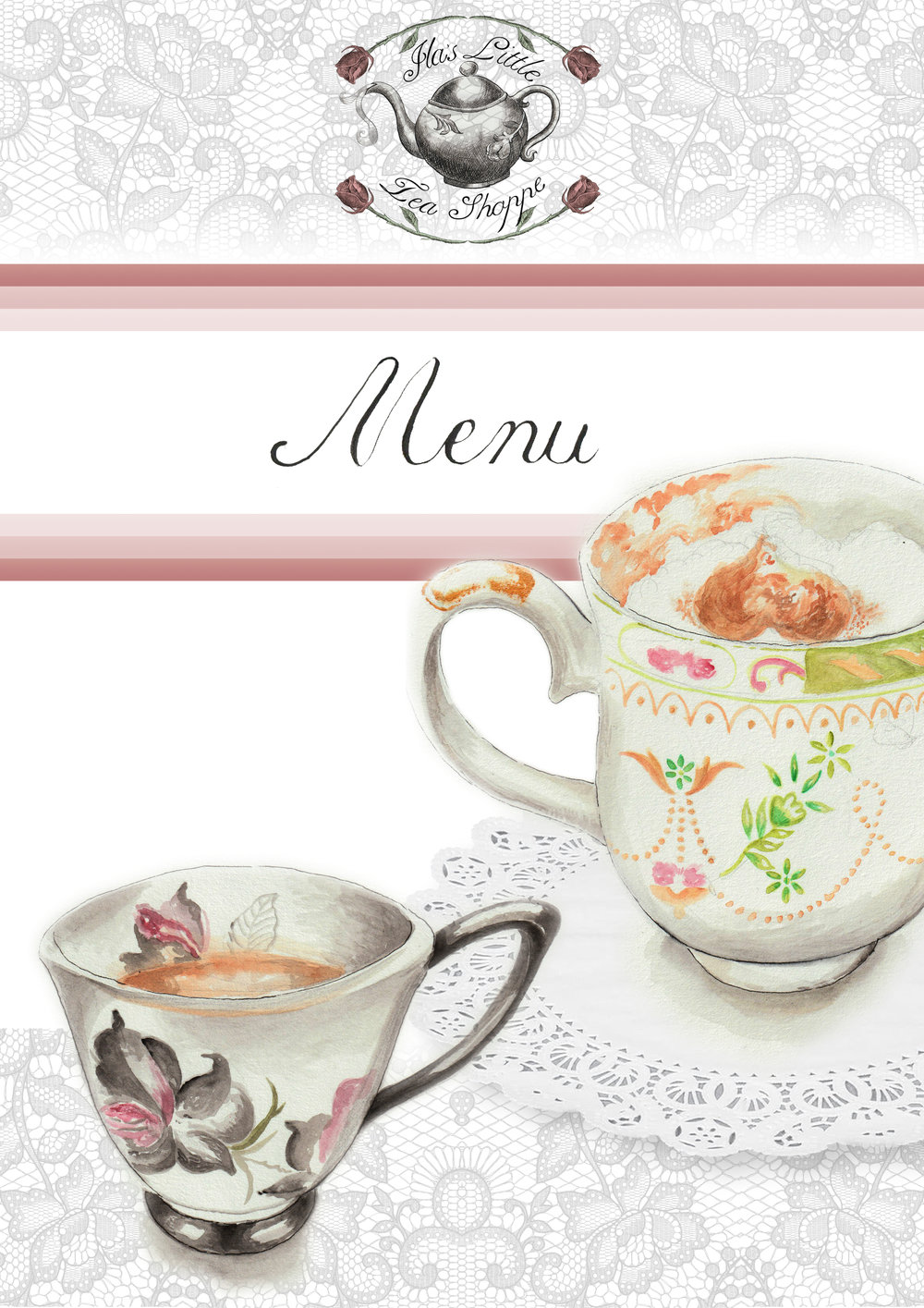 Here is my selected menu concept cover for Ila's shop, utilizing a new logo design with refinement to the illustration as well. The illustrations give flavour and bite, inspired by the menus from Betty's I desired to have hand-designed aspects present on it.